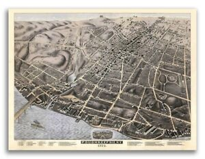 1874 Poughkeepsie New York Vintage Old Panoramic Ny City Map 18x24