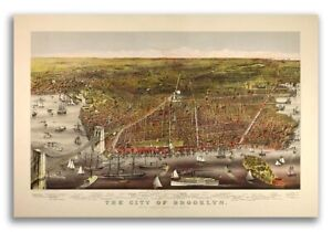 1879 Brooklyn New York Vintage Old Panoramic Ny City Map 16x24