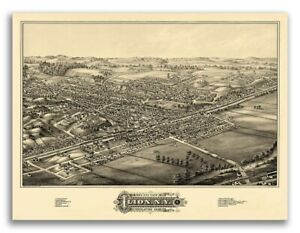 1881 Ilion New York Vintage Old Panoramic Ny City Map 20x28