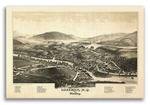 1888 Luzerne New York Vintage Old Panoramic Ny City Map 20x30