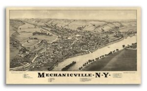 1885 Mechanicville New York Vintage Old Panoramic Ny City Map 24x42