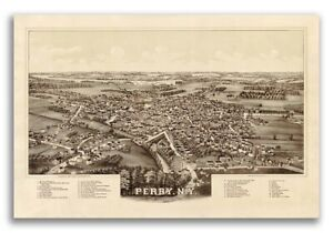 1892 Perry New York Vintage Old Panoramic Ny City Map 16x24