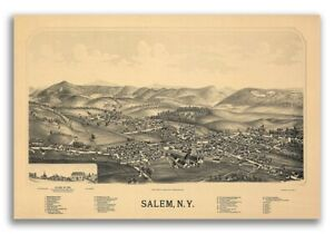 1889 Salem New York Vintage Old Panoramic Ny City Map 20x30