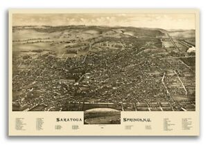 1888 Saratoga Springs New York Vintage Old Panoramic Ny City Map 20x30
