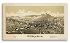 1887 Sherburne New York Vintage Old Panoramic Ny City Map 20x36