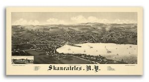 1884 Skaneateles New York Vintage Old Panoramic Ny City Map 12x24
