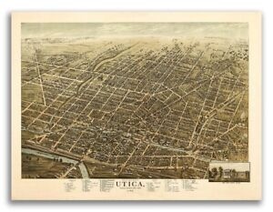 1873 Utica New York Vintage Old Panoramic Ny City Map 18x24