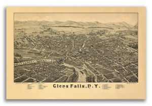 1884 Glens Falls New York Vintage Old Panoramic Ny City Map 20x30