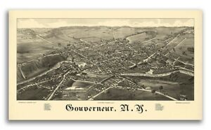 1885 Gouverneur New York Vintage Old Panoramic Ny City Map 24x42