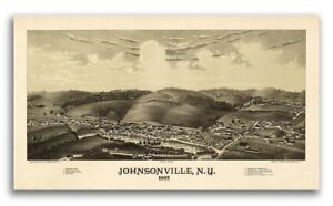 1887 Johnsonville New York Vintage Old Panoramic Ny City Map 20x36