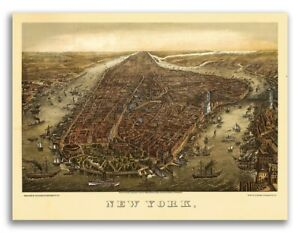 1873 New York City New York Vintage Old Panoramic Ny City Map 18x24