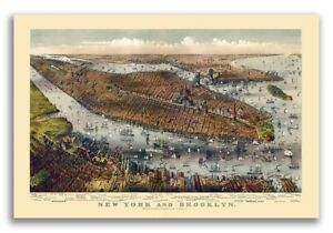 1875 New York City New York Vintage Old Panoramic Ny City Map 20x30
