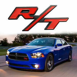 Red R T Rt Badge Emblem Metal Sticker For Dodge Challenger Charger Jeep Ram Hemi