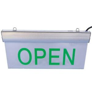 Hanging Business Open Sign With Green Led Light On Clear Base