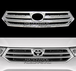 For 2011 2013 Toyota Highlander Chrome Snap On Grille Overlay Insert Grill Cover