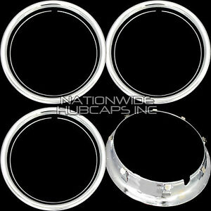 Set Of 4 15 Chrome Wheel Trim Rings Beauty Rims Ring Glamour Band For Steel Rim