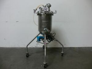 20 Liter Stainless Steel Jacketed Reactor W Bottom Agitator Rated 80 Psi