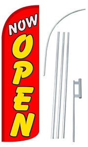 Now Open Flag Sign Banner Kit 3 Wide Windless Swooper Feather Advertising