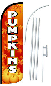 Pumpkins Fall Flag Kit 3 Wide Windless Swooper Feather Advertising Sign