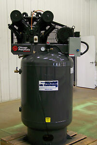 Chicago Pneumatic Air Compressor 10 Hp 3 Ph Two Stage Cast Iron Tefc Motor