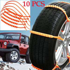 10pcs Excellent Snow Tire Chain Car Truck Wheel Tire Antiskid Chains Slip Red