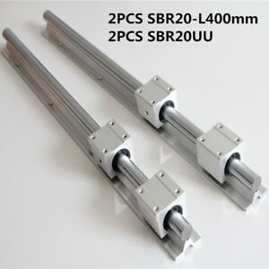 2set Sbr20 400mm Linear Slide Rail Shaft Cnc 4pcs Sbr20uu Bearing Block 20mm