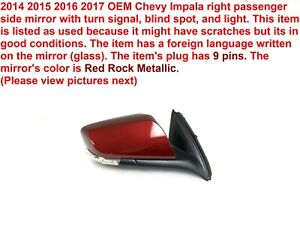 2014 2017 Chevy Impala Right Side Mirror With Blind Spot 23469396