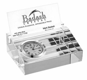 New Business Card Holder With Inlaid Clock Display Case Organizer Stand Desk
