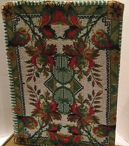 1890 S Micro Bead Tapestry11 By 8 Silk Lined Frt Bk Panels Red Green Gold Wht
