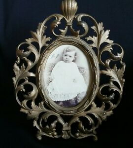 Antique Victorian Baroque Ornate Gold Tone Easel Table Top Frame W Real Photo