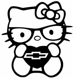 Chevy Hello Kitty Vinyl Car Window Decal Sticker 13 Colors