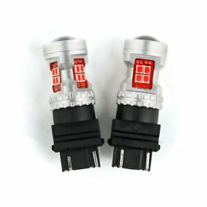 Jdm Astar 2x 3157 3156 Brilliant Red 50w Led Turn Signal Brake Tail Lights Bulbs