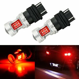 Jdm Astar 2x 50w 3157 3156 Brilliant Red Led Turn Signal Brake Tail Lights Bulbs