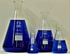 Tn Lab Glass Boro Conical Flask Set Of 4 100 250 1000 2000 Ml Ships From Usa