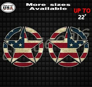 Pair Army Military Jeep Star Printed American Flag Decal Army Decal Sticker