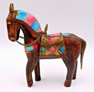 Antique Folk Art Small Multi Colored Wooden Horse W Copper Saddle And Reigns
