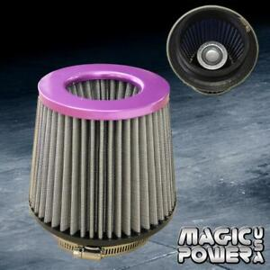Universal 4 Inch Purple Inlet Jdm Short Ram Turbo Air Flow Gray Intake Filter