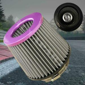 4 Inch Purple Inlet High Flow Short Ram Cold Intake Round Cone Mesh Air Filter
