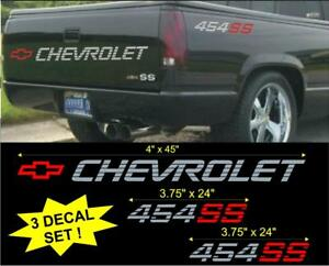 Chevrolet 454 Ss Lg Tailgate Bed Vinyl Vehicle Decal Stickers Set 1990 S Truck