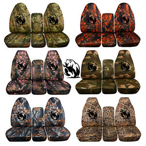 Fits 2014 To 2018 Chevrolet Silverado 40 20 40 Camouflage Bear Seat Covers