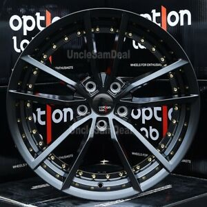 18x9 5 5x100 35 Option Lab S409 Matte Black 10 Spokes Gold Rivet Tuner Wheels