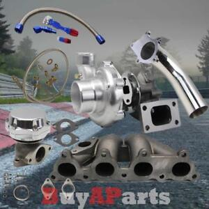 T3 t4 Turbo manifold chrome Wastegate oil Feed return Hose downpipe For D series