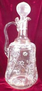 Antique Wine Claret Decanter Blue White Enamel Flowers Gold Handle Victorian