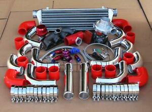 T3 t4 Turbo manifold chrome Intercooler Pipe red Coupler Kit For D15 D16 Civic