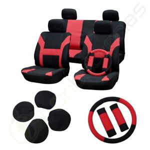 11pcs Red Black Car Seat Cover W Headrest Steering Wheel Belt Pads For Porsche
