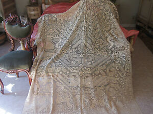 Antique Early Fine Rarest French Figural Linen Lace Bedspread Coverlet Panel