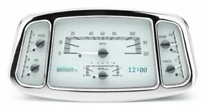 Dakota 33 34 Ford Car Analog Dash Gauges System Silver White Vhx 33f S W