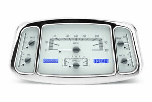 Dakota 33 34 Ford Car Analog Dash Gauge System Silver Alloy Blue Vhx 33f