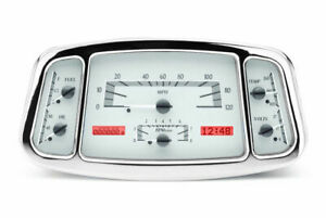 Dakota 33 34 Ford Car Analog Dash Gauges System Silver Alloy Red Vhx 33f