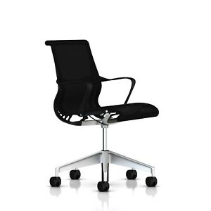 Herman Miller Setu Chair Ribbon Arms Standard Carpet Casters Graphit New